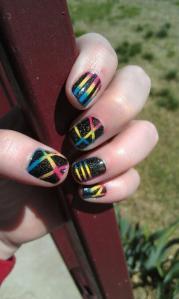 neon gradient stripe nails