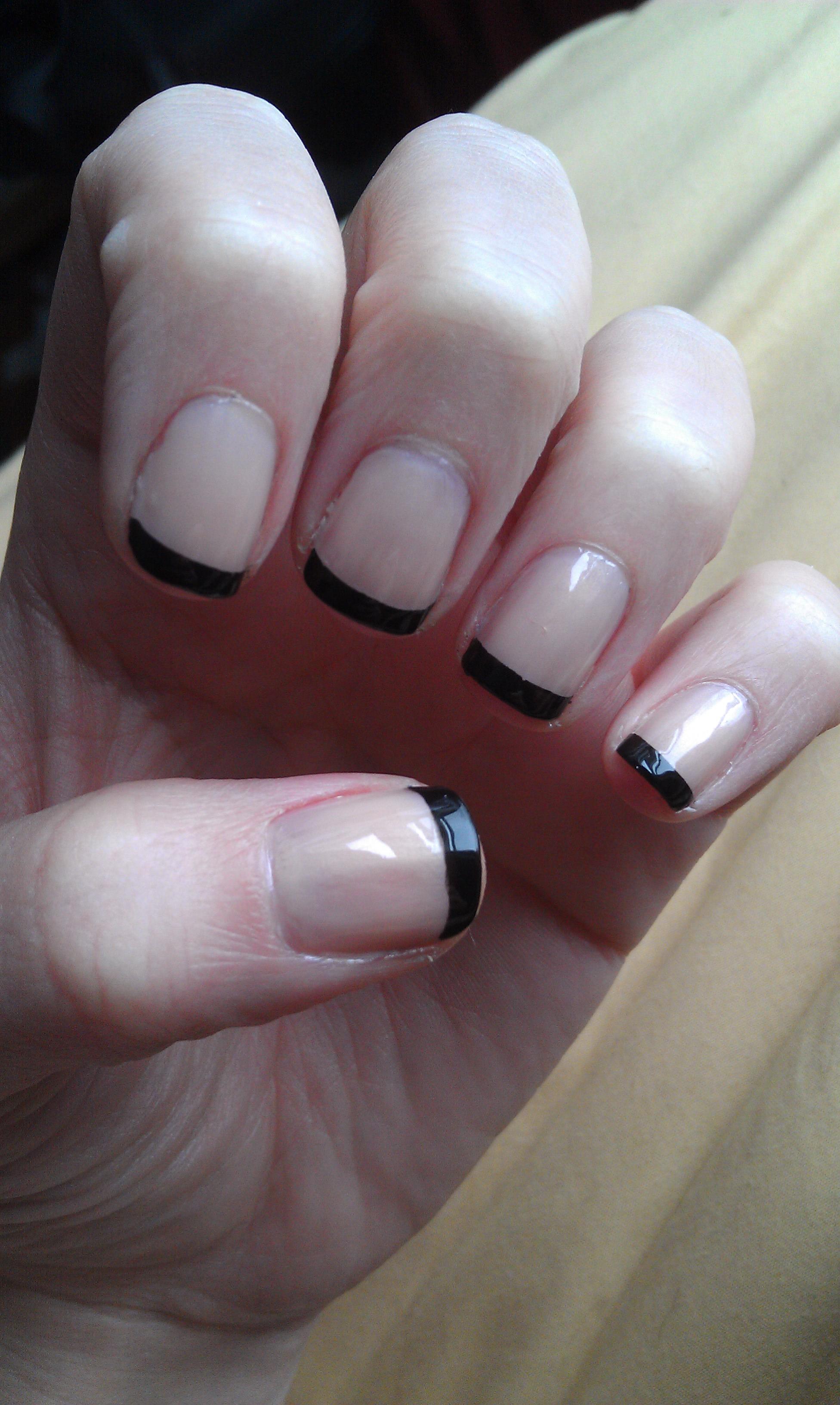 Sleek Black French Manicure | Nood Mood