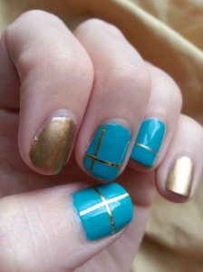 gold and teal tape mani