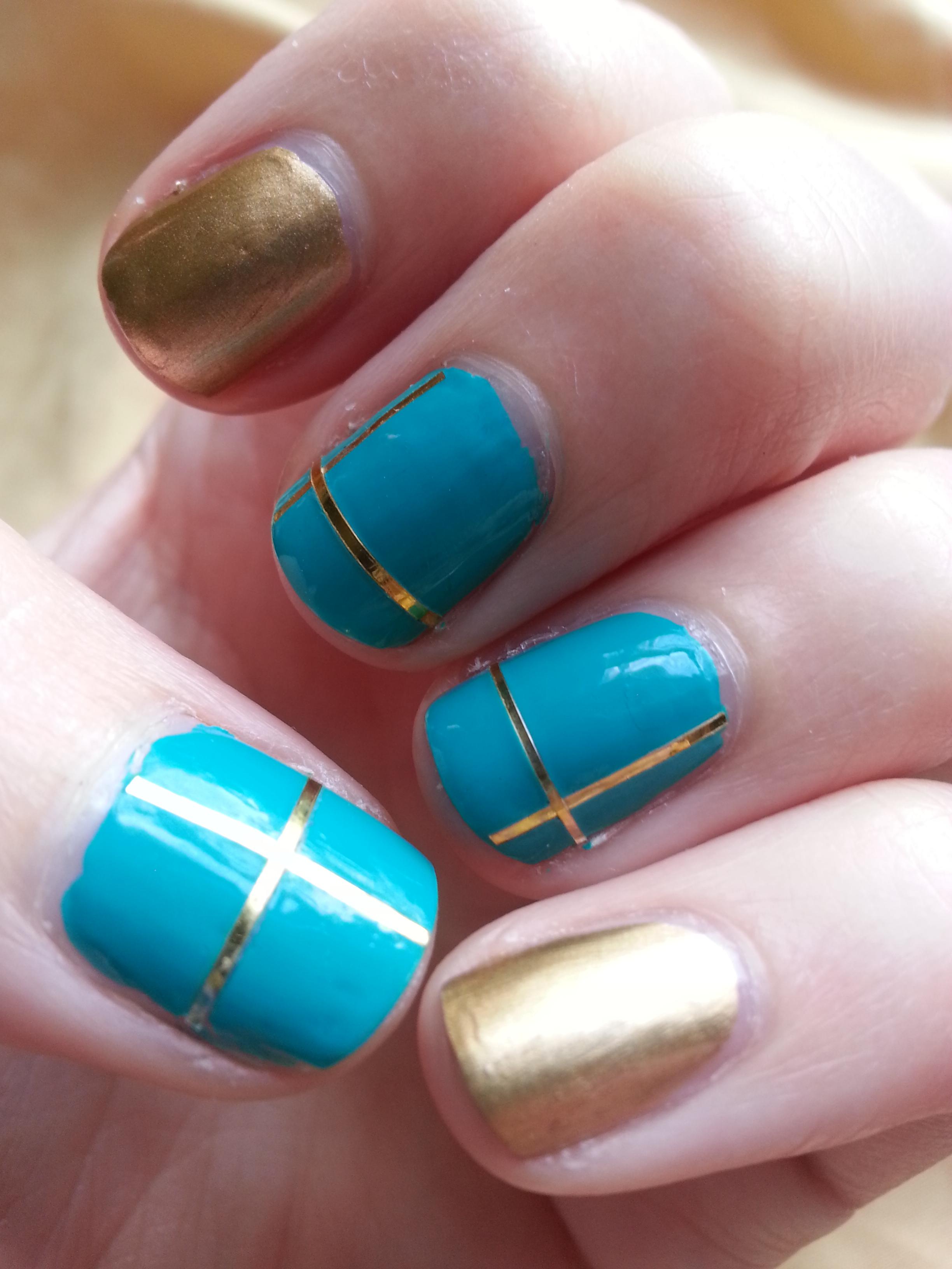 Nail Art Challenge September 4 Gold Amp Teal Nood Mood