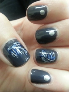 feather manicure nail art