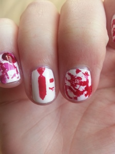 shaun of the dead blood splatter nail art